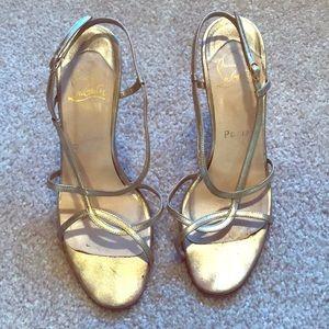 Christian Louboutin gold metallic slingback sandal